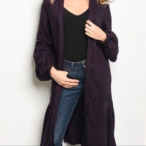 Gigi peplum geometric mutton sleeve duster cardi
